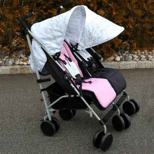 Snooki Double Twin Stroller with reversible seat liners