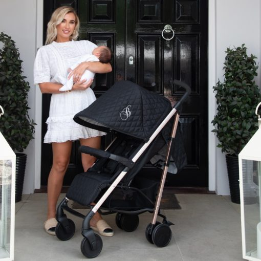 Billie Faiers MB51 Rose Gold Black Quilted Stroller