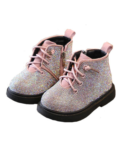 Itty Bitty Pink Diamante Encrusted Boots