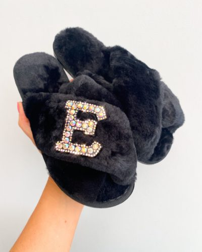 Itty Bitty Women/Adults Faux Fur Black Personalised Slippers