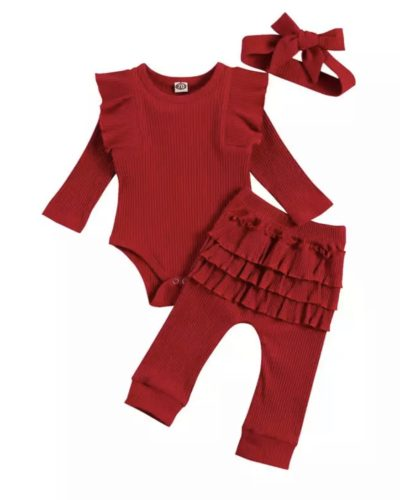 Itty Bitty Christmas Red Frill Set With Headband