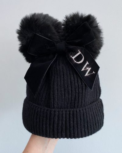 Itty Bitty Black Personalised Bow Hat