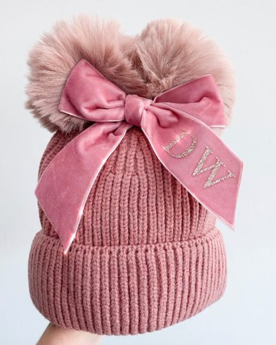 Itty Bitty Winter Pink Personalised Bow Hat
