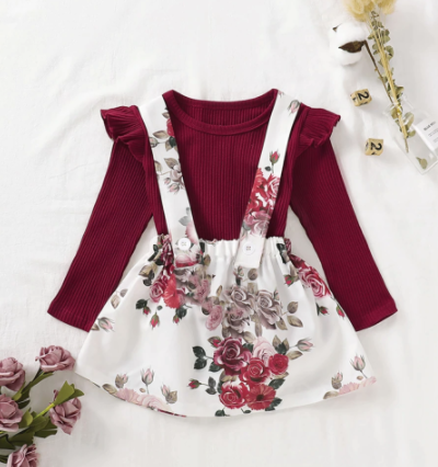 Itty Bitty Red Flower and White Dress Set