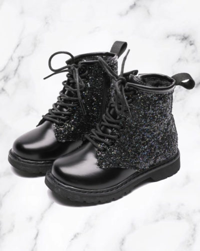 Itty Bitty Black Sparkle boots
