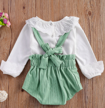 Itty Bitty Mint Romper & Broderie Anglaise Trim Blouse Set