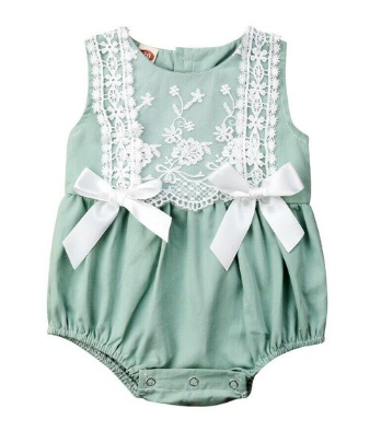 Itty Bitty Green Lace Bow Romper