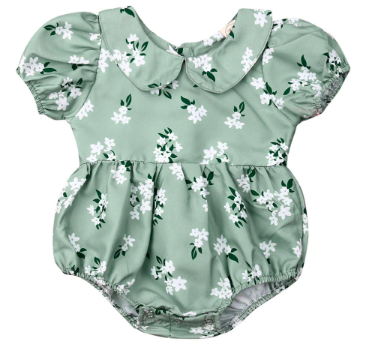 Itty Bitty Green Floral Romper