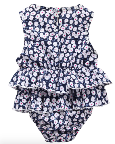 Itty Bitty Navy Floral Ruffle Romper
