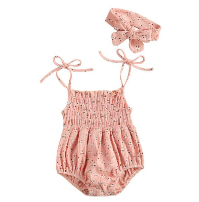 Itty Bitty Pink Floral Bow Strap Romper Set