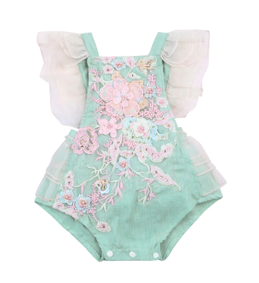Itty Bitty Embroidered Ruffle Romper