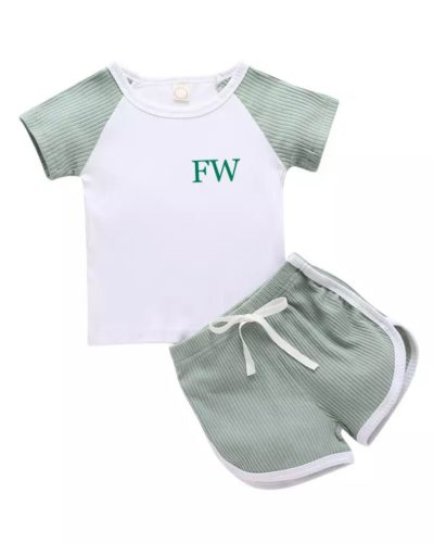 Itty Bitty Green 2 Piece Ribbed Top and Shorts Set