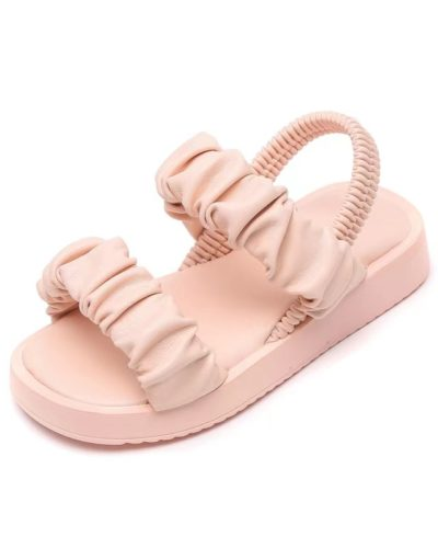 Itty Bitty Rose Pink Blush Ruched Strap Sandals