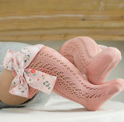 Itty Bitty Pink With Floral Bow Knee Socks