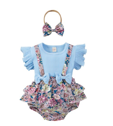 Itty Bitty Blue Floral Ruffle Bow Set