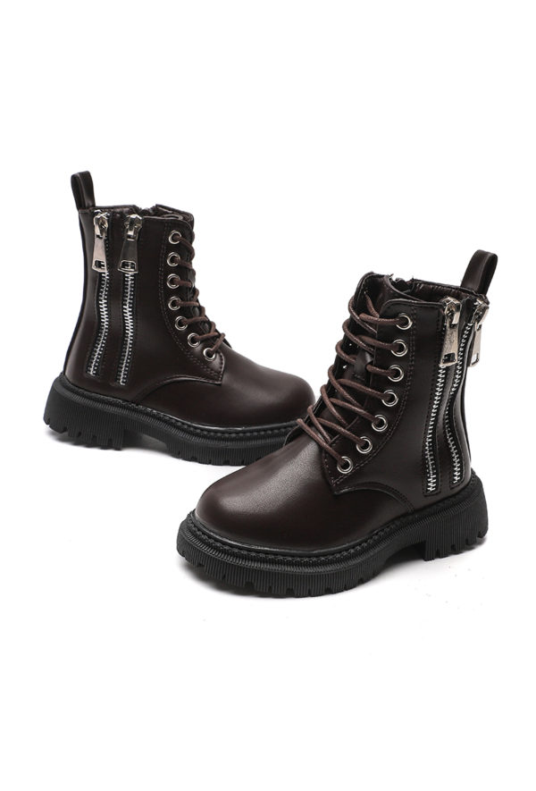 Itty Bitty Autumn Brown Double Zip Boots
