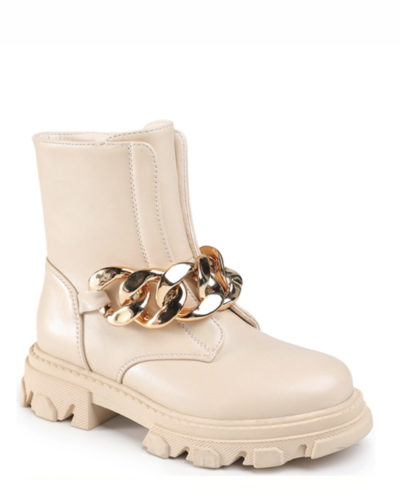 Itty Bitty Beige Gold Chain Chunky Boots