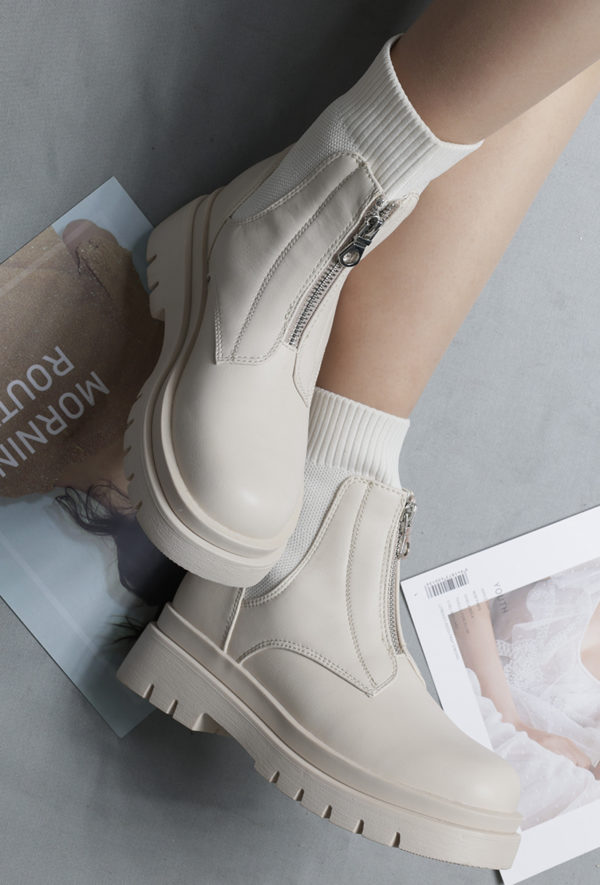 Itty Bitty Women's Beige Chunky Front Zip Fashion Ankle Boots