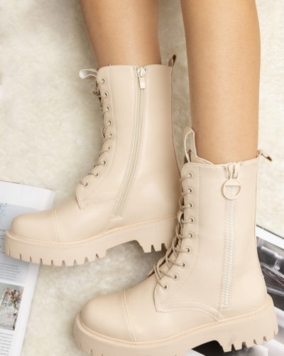 Itty Bitty Women's Beige Chunky Lace Up Fashion Ankle Boots